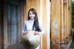 Beautiful woman with Vietnam culture traditional dress, Ao dai stock photos