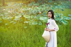Beautiful woman with Vietnam culture traditional dress royalty free stock photos