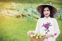 Beautiful woman with Vietnam culture tranditional dress Stock Images