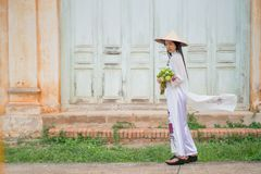 Beautiful woman with Vietnam culture tranditional dress stock image