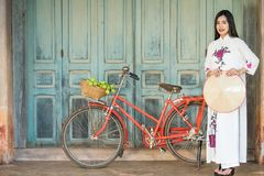 Beautiful woman with Vietnam culture tranditional dress Stock Photo