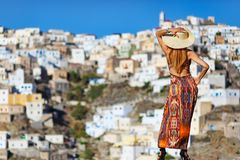 A woman at Olympos of Karpathos, Greece Stock Images