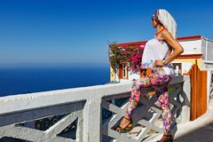 A woman at Olympos of Karpathos, Greece. A beautiful woman at the village Olympos of Karpathos, Greece Stock Image