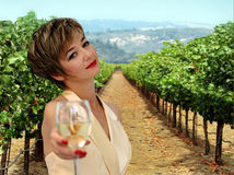 Beautiful woman at vineyard. Beautiful woman offering a glass of white wine at vineyard stock images