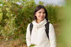 Beautiful Woman in Vineyard Royalty Free Stock Photography