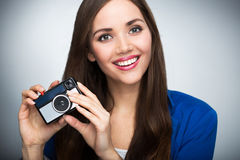 Beautiful woman with vintage camera Stock Photo