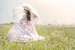 Beautiful woman in vintage dress royalty free stock photos