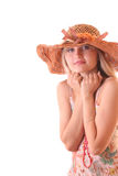 Beautiful woman in vintage hat isolated Stock Photography