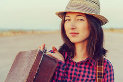 Beautiful woman with vintage suitcase Royalty Free Stock Photography