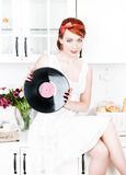 Beautiful woman with vinyl record Stock Photos