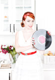 Beautiful woman with vinyl record Stock Images