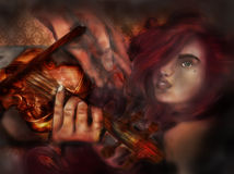 Beautiful woman with violin and hands dreaming melody Stock Photos