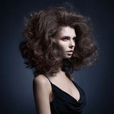 Beautiful woman with volume wavy hair Royalty Free Stock Photos