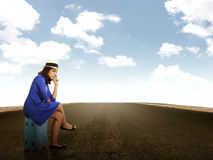 Beautiful Woman Waiting Alone On The Road Stock Photos