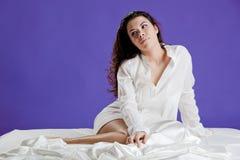 Beautiful woman waking up Royalty Free Stock Photography