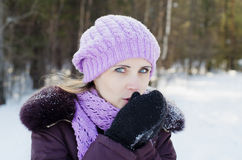 The beautiful woman on walk in the winter Royalty Free Stock Images