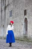 Beautiful woman walking in ancient town Stock Photo