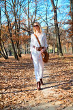 Beautiful  woman walking in the autumn  park Royalty Free Stock Photos
