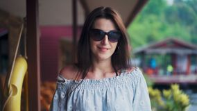 Beautiful woman walking and enjoying summer vacation in asia tropical country. Travel and adventure concept.  stock video