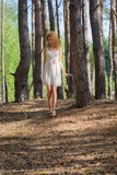 Beautiful woman walking in forest Stock Photography
