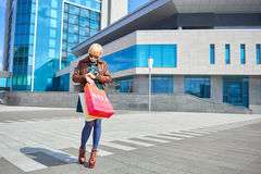 Beautiful woman walking with shopping bags Royalty Free Stock Photo