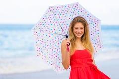 Beautiful Woman Walking on Tropical Beach Stock Photos
