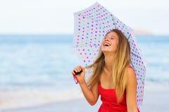 Beautiful Woman Walking on Tropical Beach Royalty Free Stock Photography