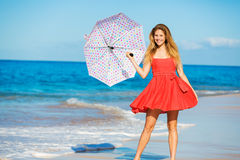 Beautiful Woman Walking on Tropical Beach Stock Image
