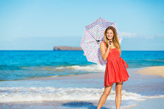 Beautiful Woman Walking on Tropical Beach Royalty Free Stock Photo