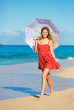 Beautiful Woman Walking on Tropical Beach Royalty Free Stock Image