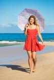 Beautiful Woman Walking on Tropical Beach Royalty Free Stock Photos