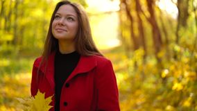 Beautiful girl walks in the autumn forest and enjoys good weather. Beautiful woman walks through the autumn forest and enjoys good weather. Weekend outside the stock footage