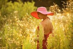 Beautiful woman walks among high wildflowers Stock Photo