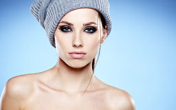 Beautiful woman in warm clothing Royalty Free Stock Photos