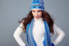 Beautiful woman in warm clothing Stock Photography