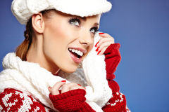 Beautiful woman in warm clothing Royalty Free Stock Photography