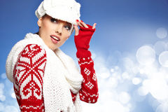 Beautiful woman in warm clothing Stock Images