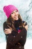 Beautiful woman in warm clothing closeup portrait Stock Photo