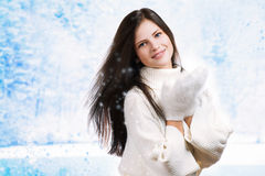 Beautiful woman in warm clothing Stock Image