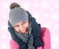 Beautiful woman in warm clothing closeup portrait Stock Photography