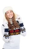 Beautiful woman in warm clothing on white background Royalty Free Stock Photo