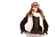 Beautiful woman in warm clothing winter Royalty Free Stock Photo