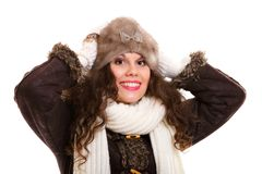 Beautiful woman in warm clothing winter Royalty Free Stock Images