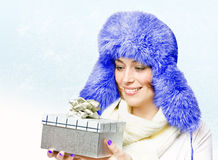 Beautiful woman in a warm hat Royalty Free Stock Images