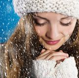 Beautiful woman in warm sweater Royalty Free Stock Images