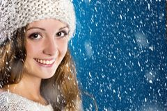 Beautiful woman in warm sweater Stock Photography