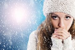 Beautiful woman in warm sweater Stock Images