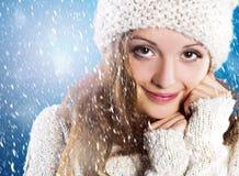 Beautiful woman in warm sweater Stock Photos