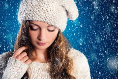 Beautiful woman in warm sweater Stock Photos