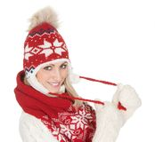Beautiful woman in warm winter clothing Stock Photo